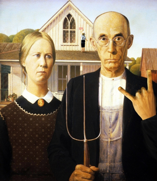 "2012. ""American Fucking Gothic!"", from ""American Gothic"", Grant Wood"