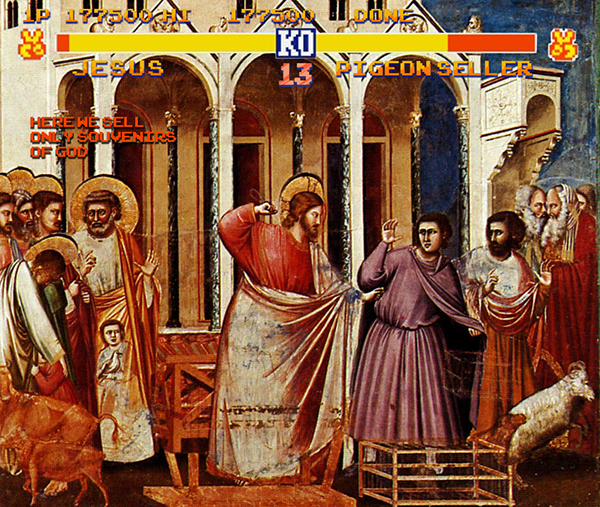 """2011. """"Here we sell only souvenirs of God"""", from """"Purification of the Temple"""", Giotto"""