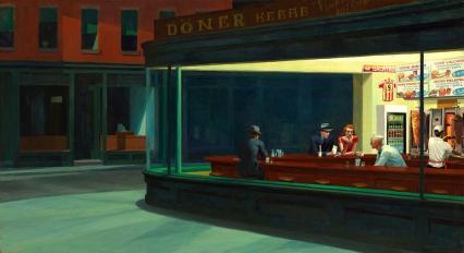 """2013. """"Nighthawks at Kebab"""", from """"Nighthawks"""", Edward Hopper"""