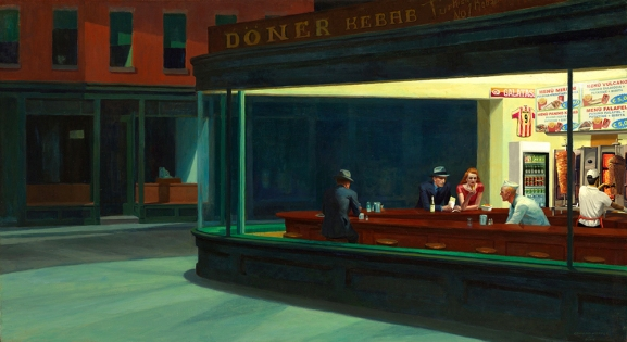 "2013. ""Nighthawks at Kebab"", from ""Nighthawks"", Edward Hopper"
