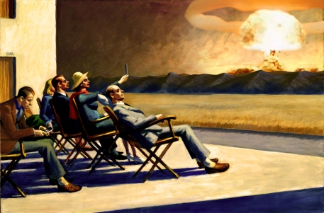 "2018. ""People in tha atomic sun"", from ""People in the sun"", Edward Hopper"