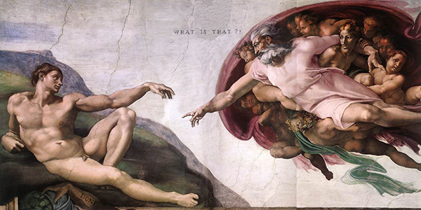 "2009. ""The Wrong Creation of Adam"", from ""The Creation of Adam"", Michelangelo"