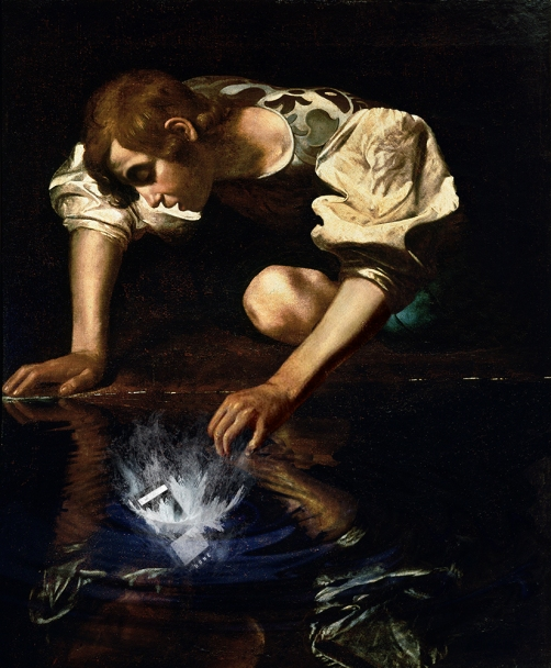 """2019. """"#narcisofailedselfie"""", from """"Narciso"""", Caravaggio"""
